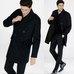 Express Black Military Double-Breasted Topcoat